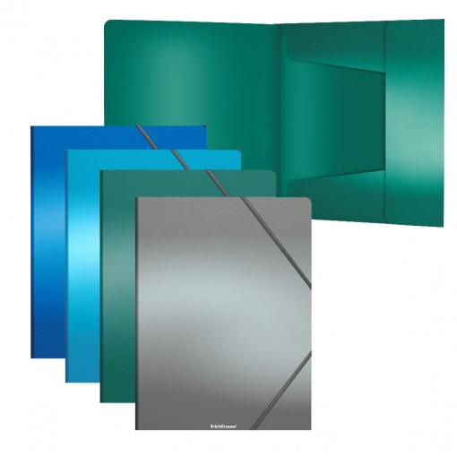 Nurgakummiga plastmapp A4 Matt Ice Metallic, 4värvi assortii
