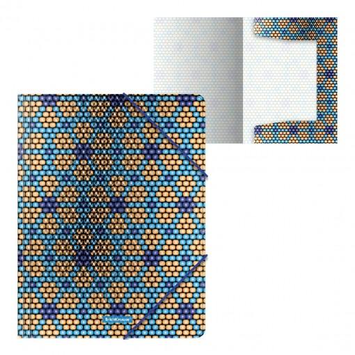 Nurgakummiga plastmapp A4 Blue&Orange Beads