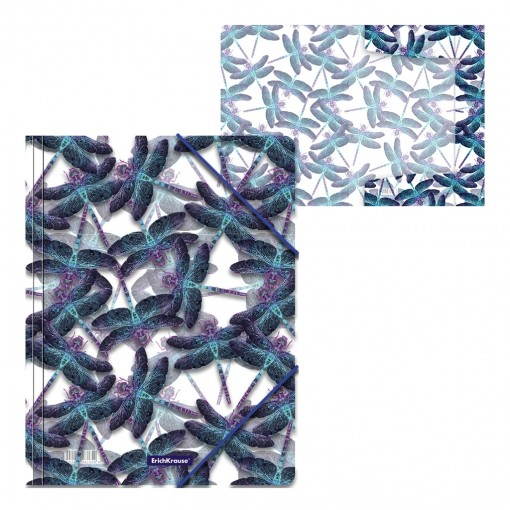 Nurgakummiga plastmapp A4 Neon Dragonflies