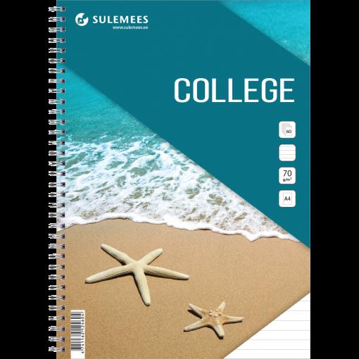 College A4, 60 lehte, jooneline – türkiis