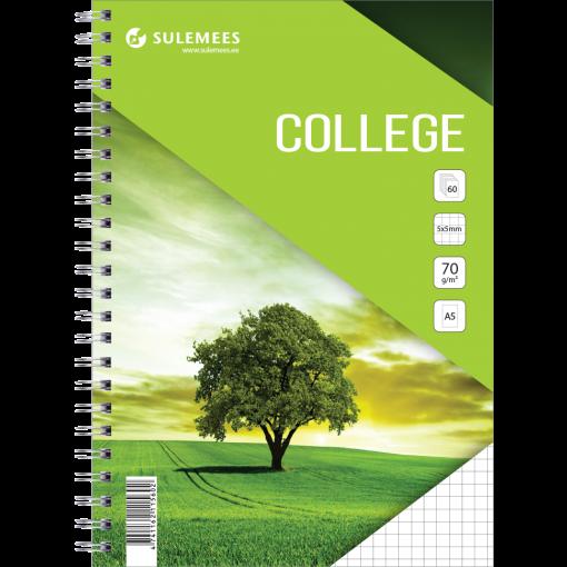 College A5, 60 lehte, 5x5 ruut – roheline