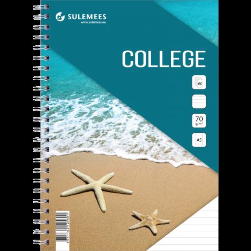 College A5, 60 lehte, jooneline – türkiis