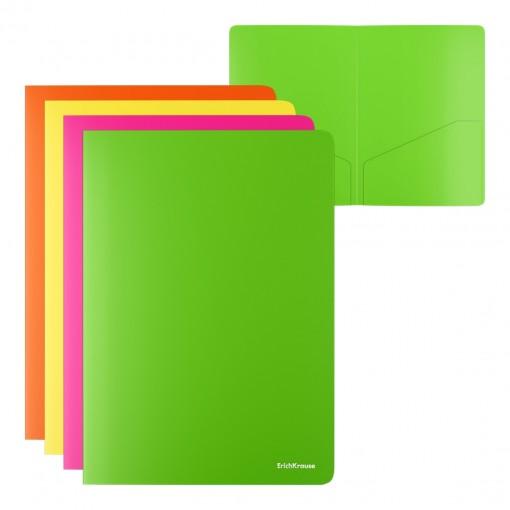 L-tasku kahe taskuga A4 Glossy Neon, läbipaistmatu, assortii