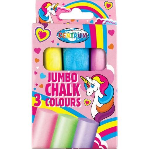 Kriit, tänavakriit värviline JUMBO Unicorn 105mm, läbimõõt 24mm, 3 tk pakis