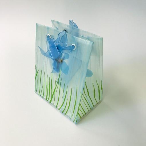 Kinkekott Sinised lilled 12*15*8,5cm, läbikumav