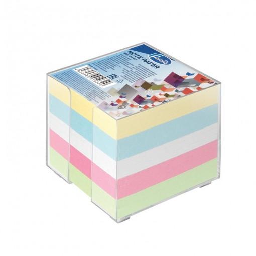 Märkmekuup 8,5x8,5 cm värviline Forofis, 800 lehte plasttopsis