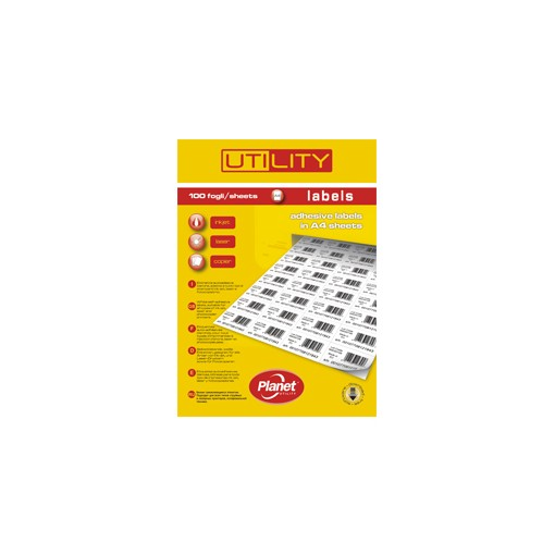 Etikett A4 Utility 48,5 x 25,4 mm, 100 lehte, 40tk lehel