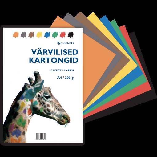 Värvilised kartongid A4 200gr, 8 lehte, 8 värvi