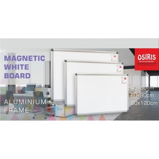 Valge magnettahvel 60x90cm Osiris, alumiiniumraam
