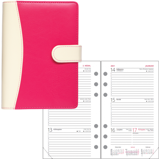 Compact-A6 WEEK, fake leather, all cover colours