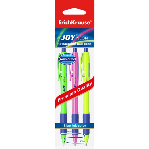 Pen Erich Krause  with click mechanism JOY Neon, 3 blue hang hole pack