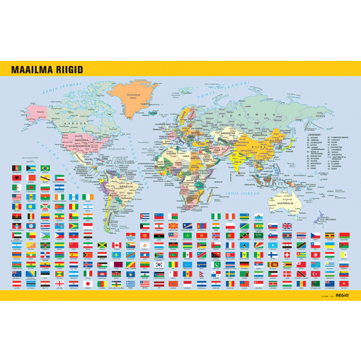 Place mat Countries of the World, 40x60cm, estonian