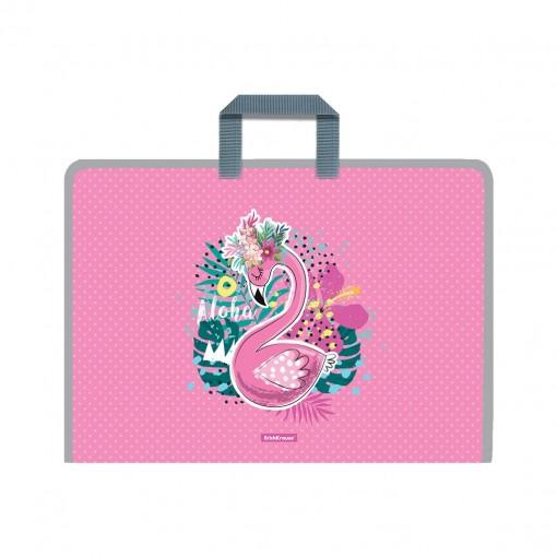 Plastmapp ringluku ja sangadega A3 Rose Flamingo